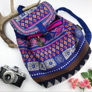 Handbags - Catori Embroidered Tribal Print Canvas Backpack
